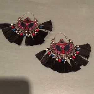 Free people black tassel hoops